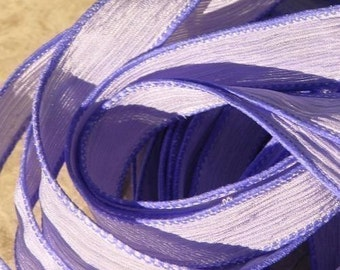 LAVENDER Silk Strings, Crinkle Silk Ribbons Hand Dyed Qty 5 Pastel Violet Purple, Craft Ribbons, Jewelry Making Ribbon for Silk Wraps