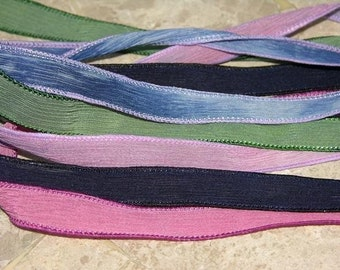 GARDEN PARTY Assortment Silk Ribbons Hand Dyed Sewn Navy Blue Jean Raspberry Pink Green