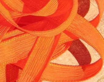 ORANGE Silk Ribbons Hand Dyed Sewn Necklace Ribbon Qty 5 Strings Ribbons Great for Bracelet Wraps, Necklaces and other Jewelry