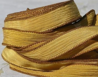 AUTUMN WIND Silk Ribbons Qty 5, Harvest Yellow Mustard Crinkle Silk Ribbons, Hand Dyed Silk Strings, Silk Wraps for Jewelry or Crafts