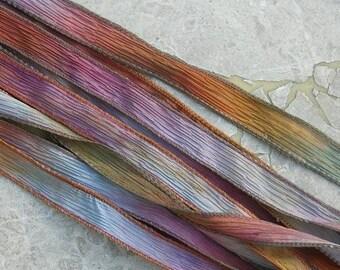 DESERT BLOOM Silk Ribbons, Hand Dyed Handmade Silk Ribbon Strings 5 Silk Watercolor Ribbons