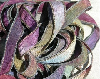Hand Dyed Silk Ribbons Qty 5, WINE and ROSES, Silk Crinkle Ribbons, Watercolor Ribbons, Wonderful Wrap Bracelets