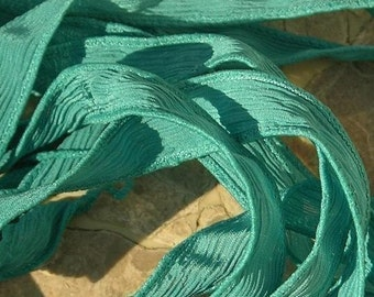 TEAL GREEN Silk Ribbons, Crinkle Silk Ribbon,  Hand Dyed, Qty 5 Jamnglass Ribbons, Jewelry Making Craft Ribbon