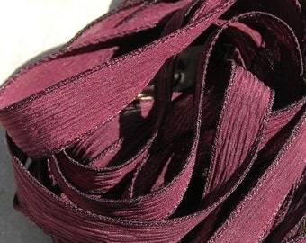 BURGUNDY Hand Dyed Silk Ribbons 5 Hand-Dyed Sewn Strings Deep Maroon Red, Jewelry or Craft Ribbon