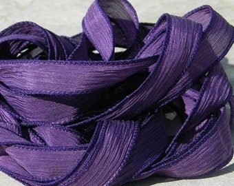 PURPLE Silk Ribbons Hand Dyed Sewn Hand Dyed 5 Royal Purple, Handmade Ribbons for Bracelet Wraps, Jewelry or Crafts