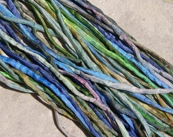 BLUES GREENS WATERCOLORS Silk Cords 25 Hand Dyed Hand Sewn Assortment Kumihimo Cords, Necklace or Bracelet Wraps