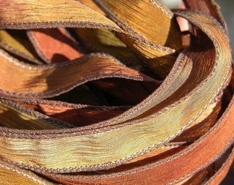RUSTLING LEAVES Silk Ribbons Hand Dyed Strings 5 Brown Rust Green Violet, Great for Bracelet Wraps, Necklaces or Crafts