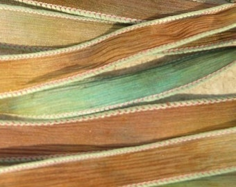 BEACHES Silk Ribbons Crinkle Silk Ribbons, Qty 5 Hand Dyed Sewn Silk Strings Brown Tan Aqua Green, Silk Bracelets Necklaces and Wraps