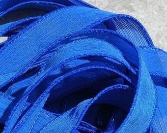 SAPPHIRE BLUE Silk Ribbons, Qty 5 to 50 Bulk Silk Strings, Hand Dyed, Jewelry or Craft Ribbon, Royal Blue, Wholesale JamnGlass Ribbon