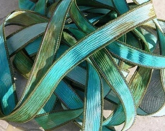 CORAL REEF Hand Dyed Silk Ribbons Watercolor Aqua Blue Turquoise Browns, Great Silk Wraps