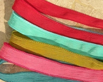 FIESTA Hand Dyed Silk Ribbon Assortment Red Turquoise Chartreuse Pink, Great for Silk Wraps and Necklaces