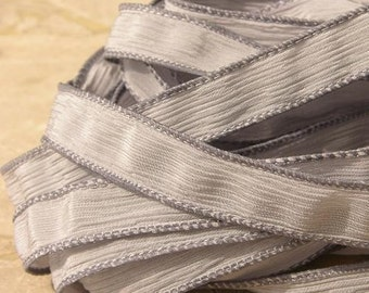 PEARL GRAY Silk Ribbons 5 Hand Dyed Sewn Strings Soft Light Grey Jamn Silk Ties, Wonderful Ribbon for Silk Wrap Jewelry