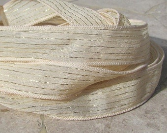 CREME SODA FIZZ Silk Ribbons, Qty 5 Hand Dyed Silk Ribbon in Ivory With Gold Stripe, Jewelry Making Craft Ribbons, Stringing Supplies
