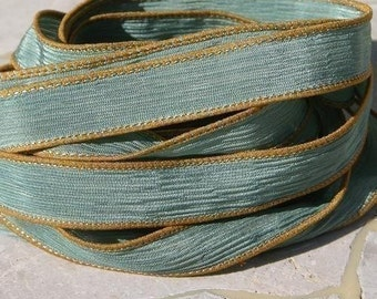 HUSHED TEAL Silk Ribbons, Strings, Hand Dyed and Sewn, Bulk Listing Qty 5 to 25 Ribbons, Blue Green, Stringing Supplies Jewelry or Crafts