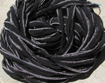 BLACK Silk Ribbons with SILVER METALLIC Edge 5 Hand-Dyed and Sewn Strings, Jewelry or Craft Ribbons