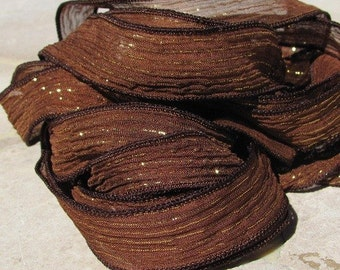 Brown Fizz Hand Dyed Silk Ribbons Strings Chocolate With Gold Metallic