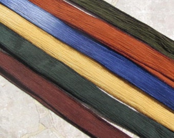 ROUND UP Silk Ribbon Assortment,  Hand Dyed and Sewn Silk Ribbons, Great for Wrist Wraps, Jewelry or other Crafts