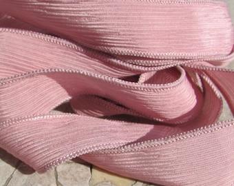 OLD ROSE PINK Silk Ribbons, 5 Hand Dyed and Sewn Handmade Silk Ribbons, Silk Strands