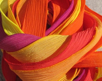 CHILI PEPPERS Hand Dyed and Sewn Silk Ribbon Assortment 6 Ribbons Coral Orange Sunflower Fuchsia Yellow Orange Gold, Great Wraps or Crafts