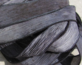 Stone Silk Ribbons,  Crinkle Ribbons in Gray and Black, Qty 5, Hand Dyed Ribbon, Sewn Strings, Jewelry Making Stringing Supplies