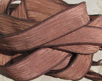 MOCHA Silk Ribbons, Hand Dyed Brown Ribbons, 5 Handmade Strings  Hand-Dyed, Great Jewelry or Craft Ribbon