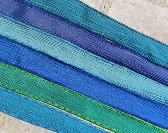OCEAN VIEW Silk Ribbon Assortment, Hand Dyed Silk Ribbons Qty 6 Crinkle Silk Ribbon, Strings Blue and Green Hand Painted Silk Wrap Bracelets