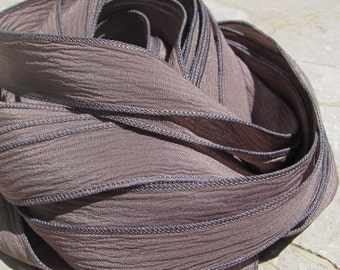 TAUPE Silk Ribbon Hand Dyed Silk Strings Crinkle Silk Ribbon Bulk Wholesale Bracelet Ribbons Qty 5 to 25 Soft Gray Brown Ties for Silk Wraps
