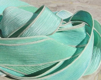 SEAGLASS Hand Dyed Silk Ribbons Qty 5 to 40 Bulk Wholesale Listing,  Silk Straings, Sea Glass Color in Soft Delicate Blues Greens Aqua