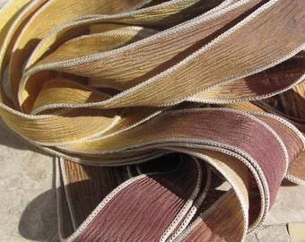 Buckskin Silk Ribbons, Hand Dyed and Sewn Qty 5 Strings, Beautiful Mix of Yellow Chamois Brown Tan, Jewelry Making Ribbons