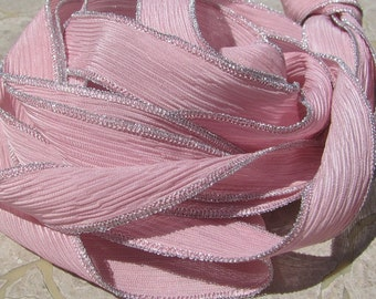 Pink Petals Hand Dyed Silk Ribbons, Crinkle Silk Ribbons with Metallic Edges, Qty 5 Silk Strings Old Rose Wrap Bracelets or Craft Ribbon