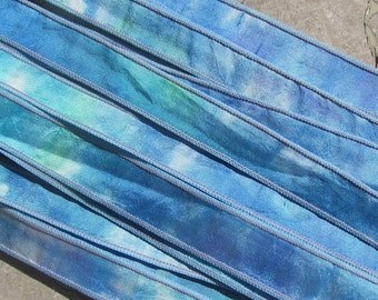 SMOOTH SAILING Hand Dyed Silk Ribbons 5 Handpainted Sewn Strings Aqua Blue Sea Colors, Great Silk Wraps or Necklace Ties