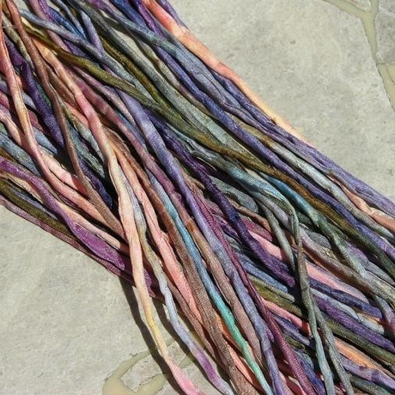 WATERCOLOR MULTI COLOR Silk Cords, Hand Dyed Hand Sewn, Silk Cording, 25 Strings, Assorted Silk Cords
