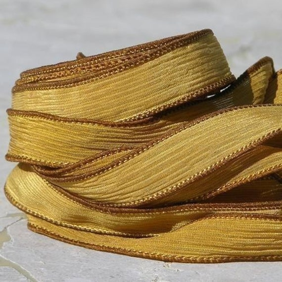 AUTUMN WIND Silk Ribbons Qty 5, Hand Dyed and Sewn Silk Strings Harvest Yellow Mustard, Silk Wraps for Braclets, Necklaces or Crafts