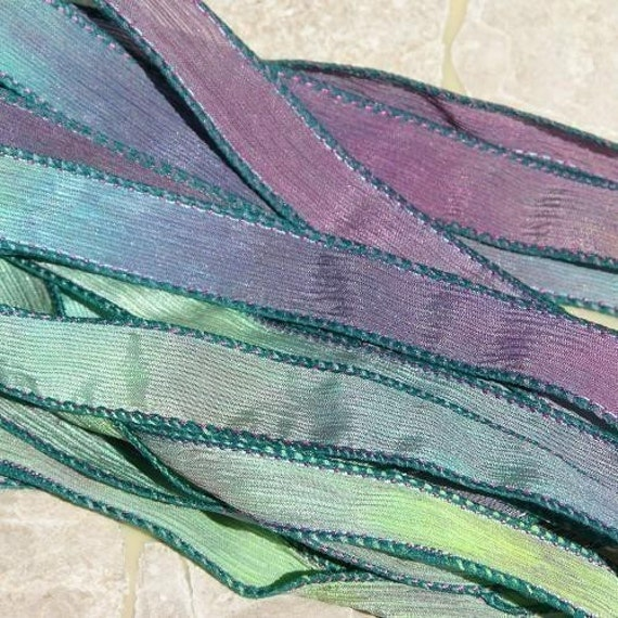 MASQUERADE Silk Ribbons Hand Dyed 5 Strings Sewn Green Purple Aqua, Mardi Gras Colors, Great Silk Wraps or Necklace Ribbons