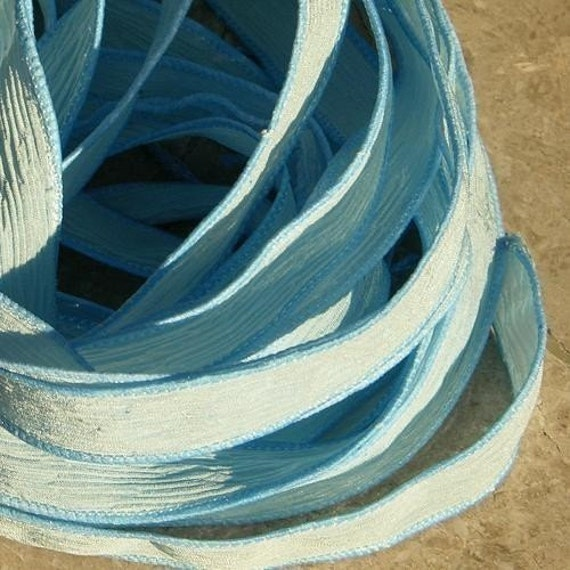 BABY BLUE Silk Ribbons Strings Hand Dyed Sewn Soft Sky Azure Powder Blue Great Silk Jewelry Wraps for Bracelets or Necklaces