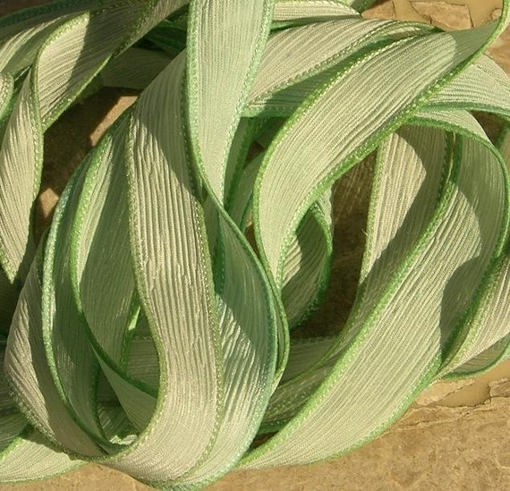 celadon green hand dyed and hand made silk ribbons