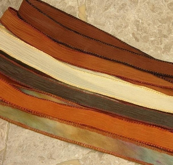 FROSTED BROWNIE Hand Dyed Silk Ribbon Assortment  6 Silk Ribbons, For Silk Wraps, Necklaces or Crafts