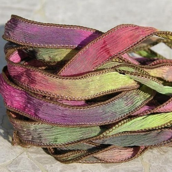 SECRET GARDEN Silk Ribbons Strings Hand Dyed and Sewn Watercolor Strands, Ribbon for Silk Wraps, Necklaces or Crafts