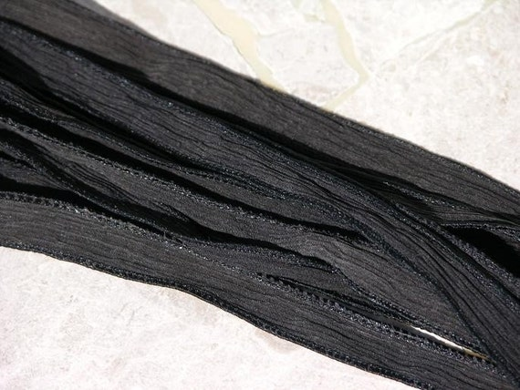 Black Hand Dyed Silk Ribbons Strings For Necklace Bracelet Wraps Jewelry