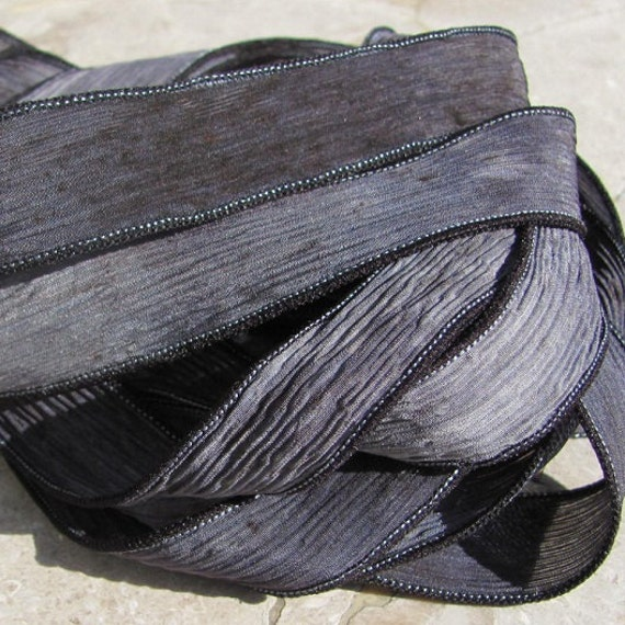 STONE Silk Ribbons Hand Dyed Sewn, You Choose Quantity 5 to 25 Ribbons, Gray Black, Great for Bracelet Wraps, Necklace Ties or Crafts