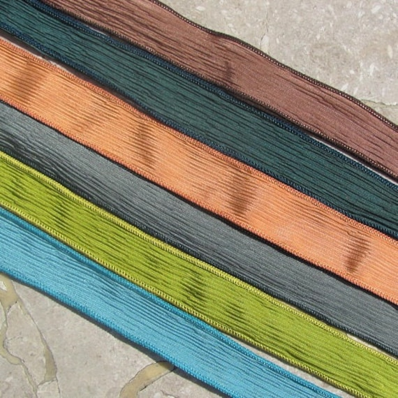 Silk Ribbons MOUNTAIN RETREAT Assortment Hand Dyed Crinkle Silk Ribbons 6 Strings, Jewelry Making Stringing Supplies