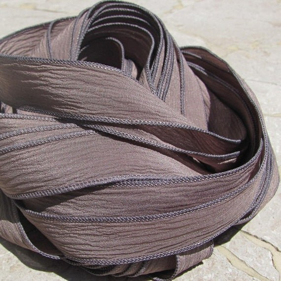 TAUPE Silk Ribbon Hand Dyed Silk Handmade Silk Strings 5 Soft Gray Brown, Great for Jewelry or Craft Ribbon