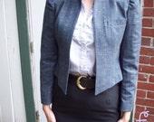 80s Vintage puff sleeve edwardian tweed shortie jacket M\/L or 10\/11