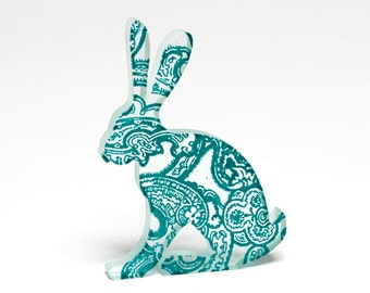 Paisley Hare Glass Sculpture Custom Screen Printed Enamel