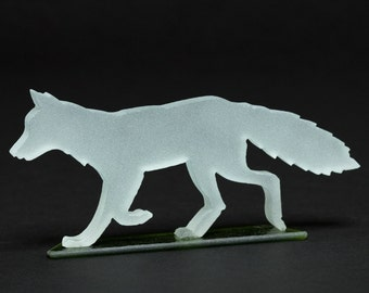Frosted Glass Fox Sculpture