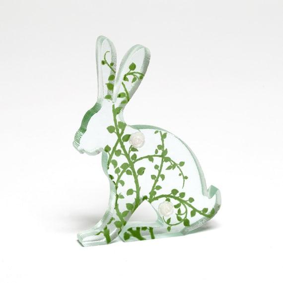 Rose Glass Hare Sculpture Green Screen Printed Enamel Custom Cast Rosebud
