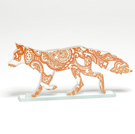 Orange Paisley Fox Glass Sculpture
