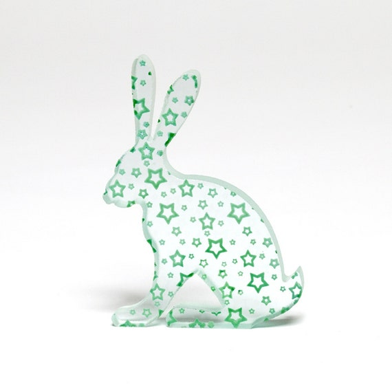 A green hoppy bunny