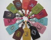 Set of 10 Custom Embroidered Leather Luggage Tags (5 Moss Green, 5 Purple) - For Katie