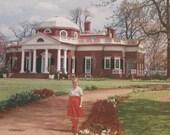 Vintage Color Lithograph Print - Thomas Jefferson's Monticello - Calendar Top Salesman Sample 8x6